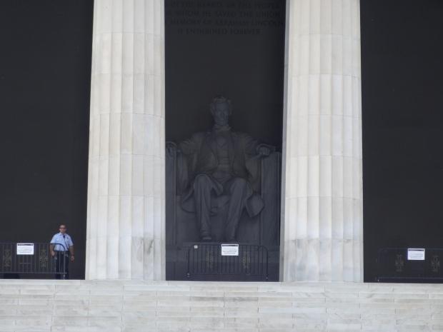 Closed Lincoln Memorial statue; Washington, DC;